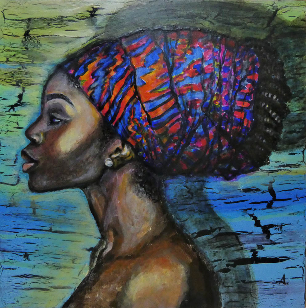 Taffet-Dalya-The colorful headscarf-Mixmedia on wooden box